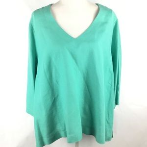 Plus Size Tunic Top V-neck 3/4 Sleeve Aqua Shirt